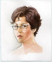 Watercolor self portrait 2 by umetnica