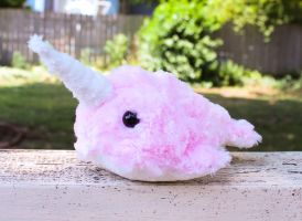 Pink Cotton Candy Narwhal Plush by BeeZee-Art