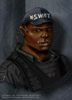 SWAT Orc Portrait by Kernspalt