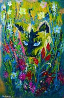 Cat Painting Flowers Art by Ekaterina Chernova by EkaterinaChernova