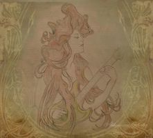 Art Nouveau Guitar Girl by Abbyanna