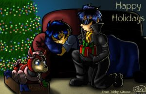 Rockman Holiday Card by digitallyfanged