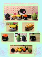 cute sushi charm figures by yahiroxyuki