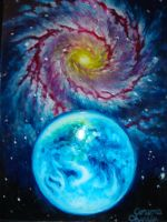 Earth and a spyral galaxy by CORinAZONe