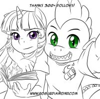Spike and Twilight portrait lineart by Pia-sama
