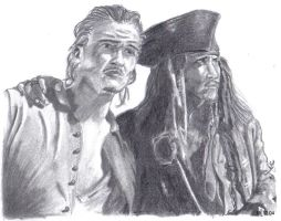 Will Turner + Jack Sparrow by Heather-Briana