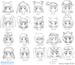 Various Touhou Face Sketches by BoggeyDan