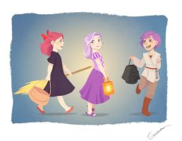 Human Ponies_Halloween Crusaders by vasira