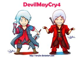 Dante and Nero chibi by stryler