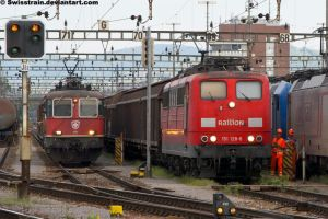 SBB Re 4-4 II 11305 + DB Br 151 128-6 by SwissTrain
