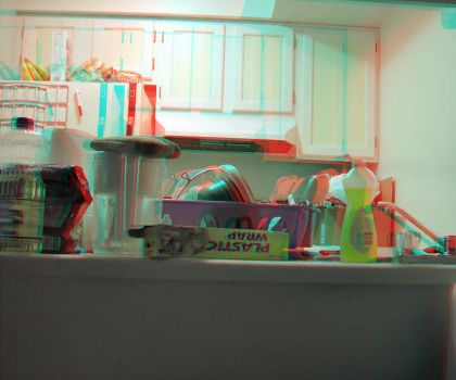 Messy Kitchenette - Anaglyph by fauxquixote
