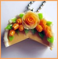 Salmon Cake Necklace by cherryboop