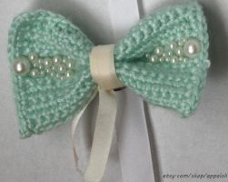 Appaloli:  Pearly Mint Classic SMALL Crochet Bow by Appaloli