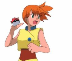 Misty throwing a Pokeball by CrystalClair