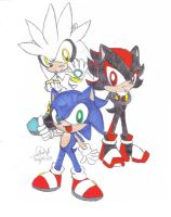 Chibi Sonic Shadow and Silver by mushydog