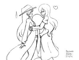 Chrysanthe And Abbie Squishy Hug Sketch by Anubis2Pabon288