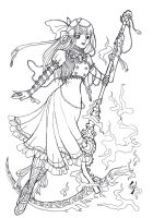 Free Lineart-Steampunk Lolita by kungfubellydancer
