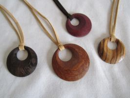Wood pendant necklaces by DMSscroller