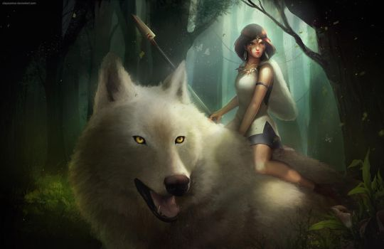 Princess Mononoke (w/painting process) by clayscence