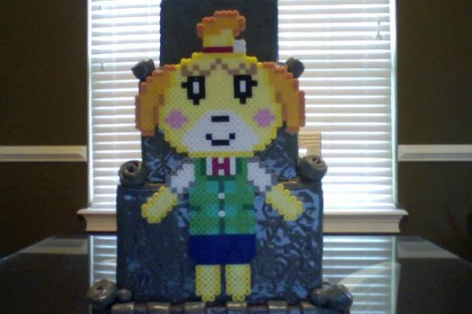 Animal Crossing Perler Isabelle Full Body by Perler-Pony