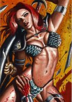 Red Sonja Sketch Card Puzzle by Dr-Horrible