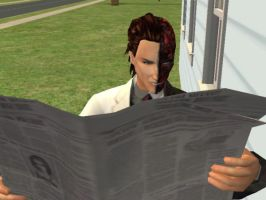 Two-Face Reading the newspaper by 12KingDedede12