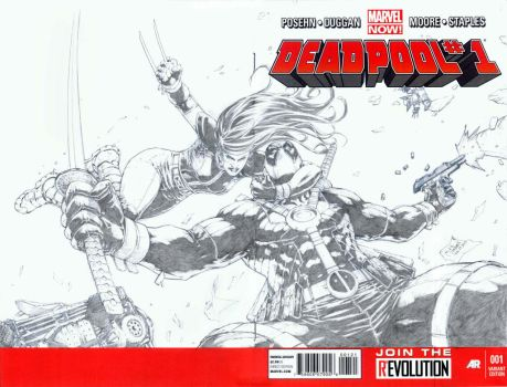 X-23 acrobatically grapples Deadpool by werder