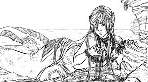 :CE: A... mermaid?!? Lineart by A-nako
