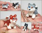 Husky Pupple Necklaces by LeiliaClay