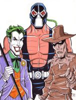 Joker, Bane and Scarecrow by calslayton