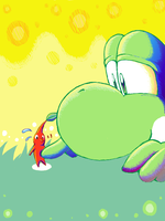 Yoshi and Pikmin by amito