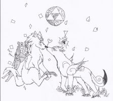 Wolf Link and Amaterasu by ItzuChan
