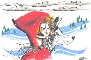 Red girl and da wolf. by Anorya