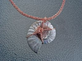 Back of Copper Viking Knit and Ammonite Necklace by magpie-poet