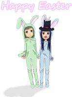 Happy Easter: Akiko and Topaz by AbsurdGenius