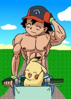 Ash and Pikatchu on the Bike by CuttyBay