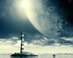 Space Lighthouse wallpaper by FISHBOT1337