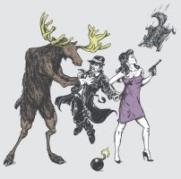 Moose and Squirrel Fight Crime by HillaryWhiteRabbit
