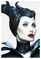 Maleficent Drawing - Angelina Jolie by KirstenLouiseArt