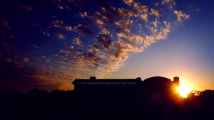 view of sunset out my window by Dahhknehhs