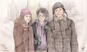 Golden Trio Portraits by Karenscarlet