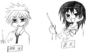 Usui and Misaki Drawing by KimikoRei07