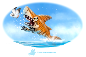 Daily Paint #1257. Tiger Shark...or Shark Khan? by Cryptid-Creations