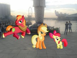 The Apple Siblings at the Merlion by laopokia