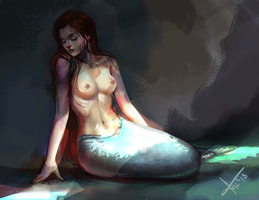 Another try at drawing a mermaid. by victter-le-fou