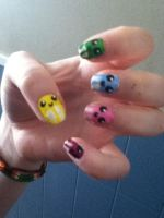 Squiddles nail art by SquareKitty