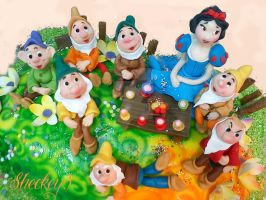 Cake Snow White and the Seven Dwarfs by 6eki