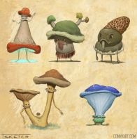 Mushroom People Sketches by ConnyNordlund