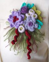 crochet purple flower pin by meekssandygirl
