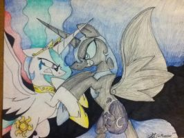 Nightmare Moon Vs Celestia by Mineaime